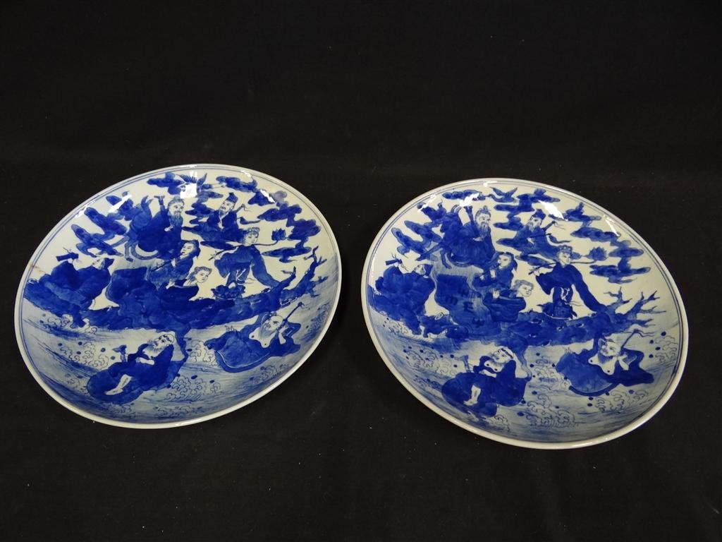 13: PAIR BLUE AND WHITE CHINESE DISHES