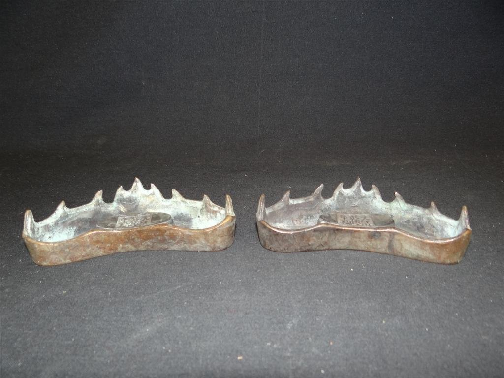 19: TWO CHINESE BRONZE BRUSH RESTS