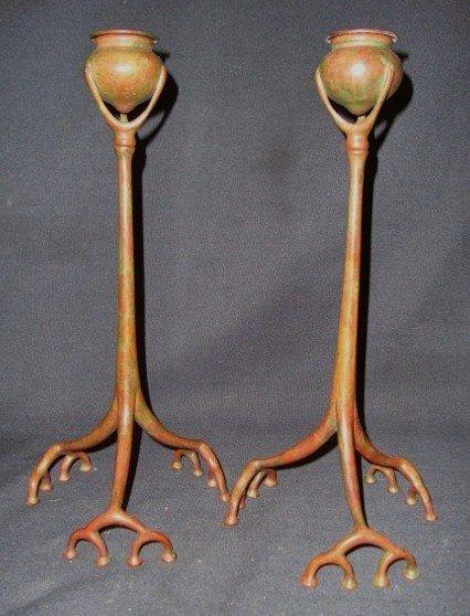 81: Pair of Tiffany Studios Bronze Root Candlesticks