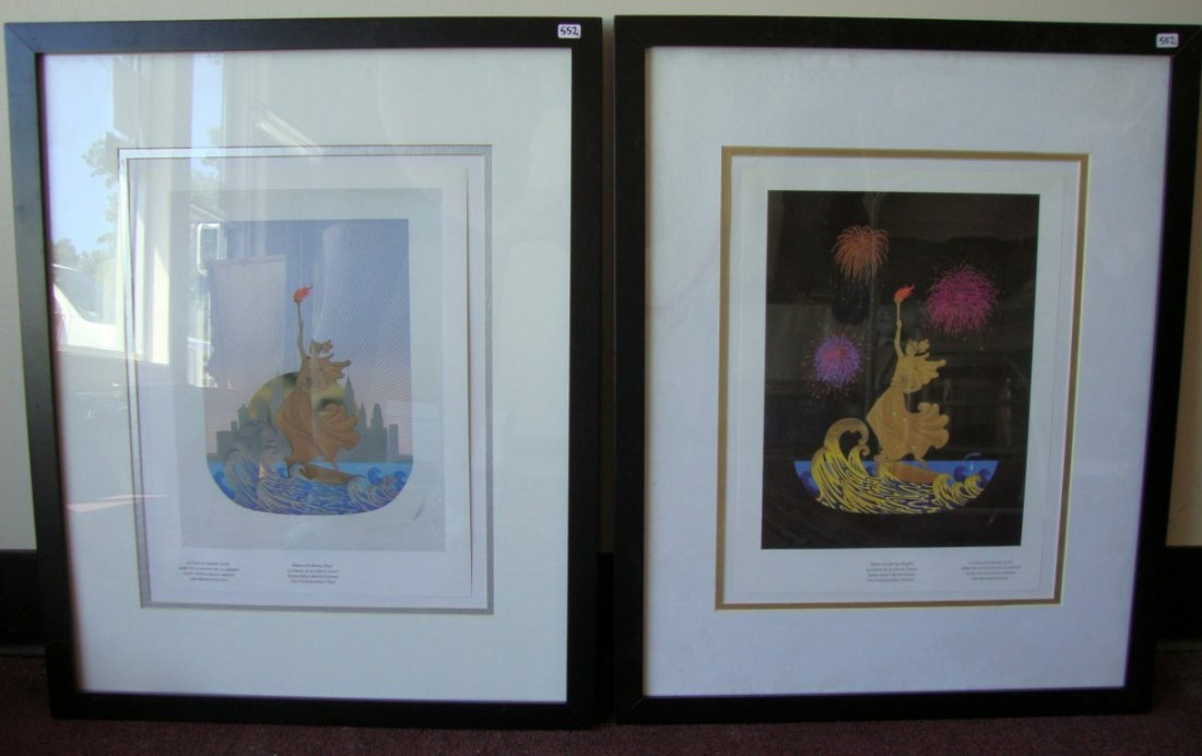 552: Two Erte Statue of Liberty Prints, Night and Day