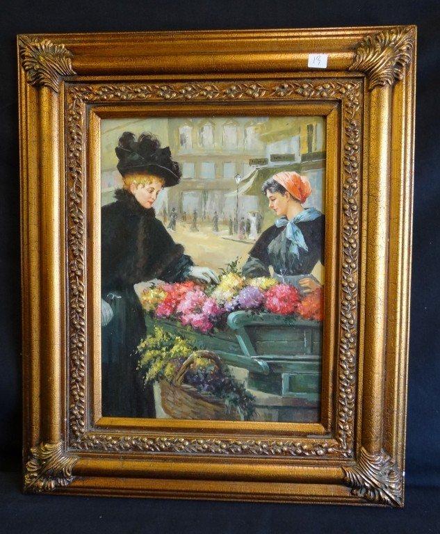 13: Oil on Board The Flower Vendor