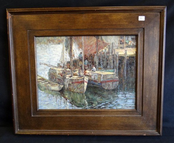 14: Oil on Board Boats Sgd. J. Calyer