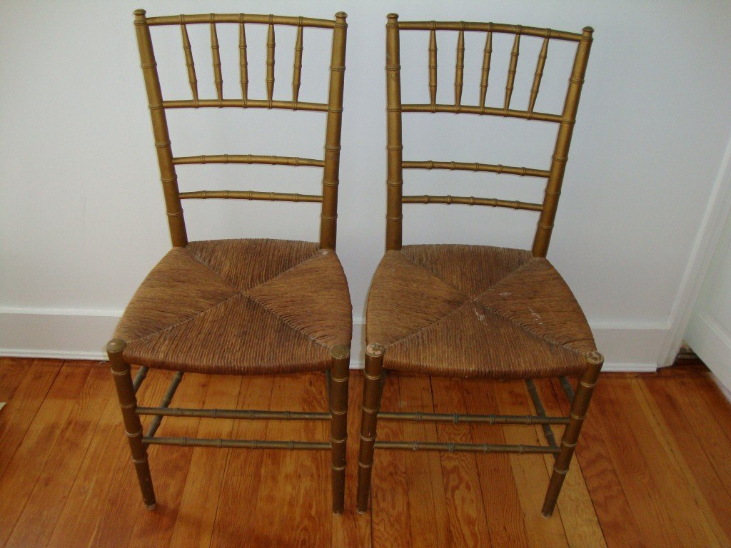 18: Pair of 19th C. Rush Seated Side Chairs