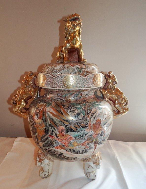 234: Meiji Perioid Satsuma Temple Jar