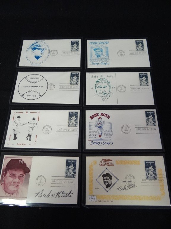 18: Eight(8) Babe Ruth First Day Covers