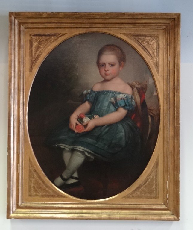 618: 19th C.  American Portrait of a Young Girl