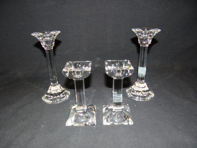 12A: Two(2) pairs of Villeroy & Boch crystal candle hol