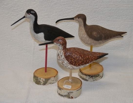 13: Three Hand Carved Shore Birds on Birch Stands