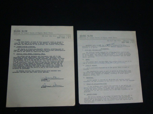 Dorian Dennis 1955 Signed Contract