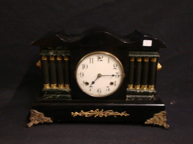 Bronze Mounted Black Mantle Clock