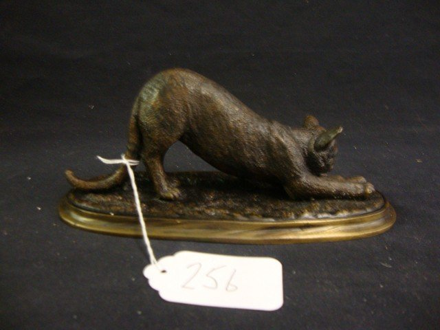 F Souchal; Bronze grouping of a cat - 3
