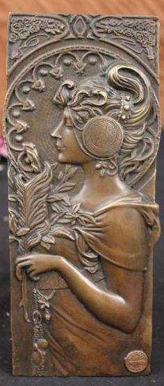 Mucha; Art Nouveau bronze bas relief plaque