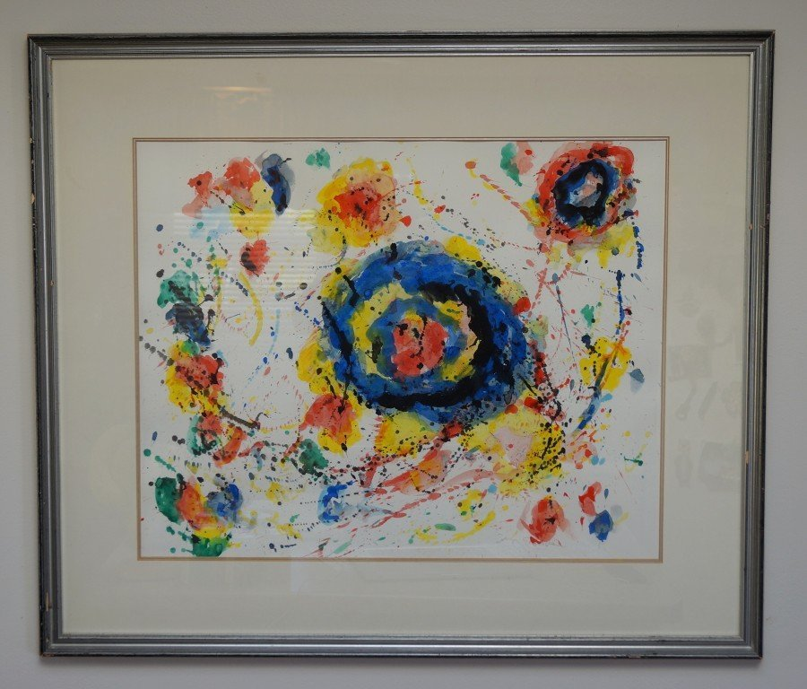 Sam Francis; 20th C. watercolor painting signed