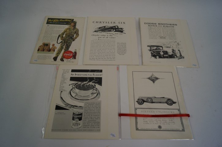 Lot of five(5) vintage advertisements