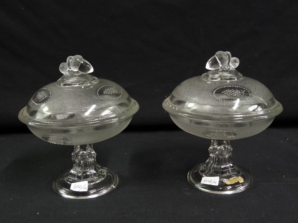 Pair of 19th C.  Pattern Glass Compotes