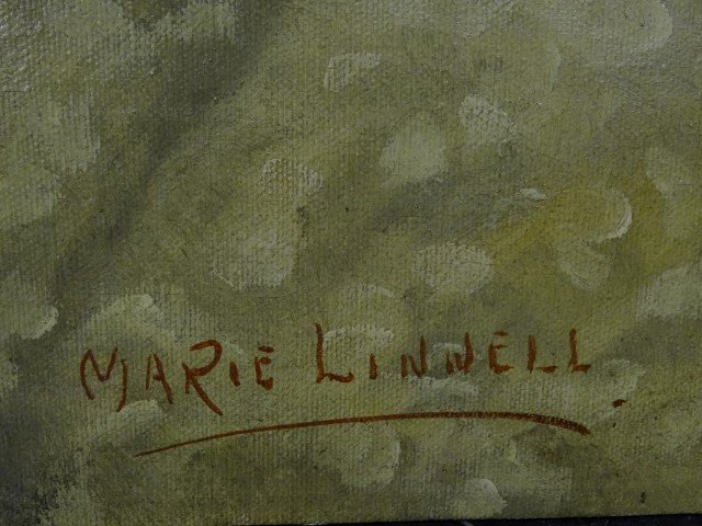Marie Linnell; 20th C. oil painting signed - 3