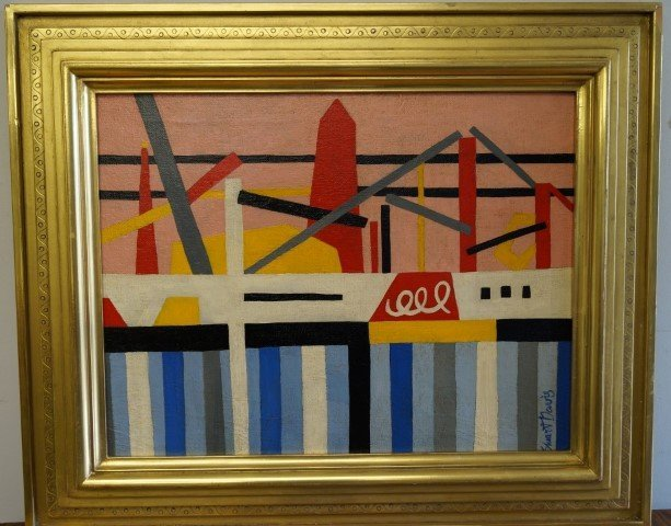 Stuart Davis; 20th C. Amer. Oil painting signed