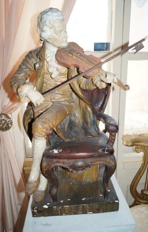 18th C.  Figure of Mozart Sgd.  Rose