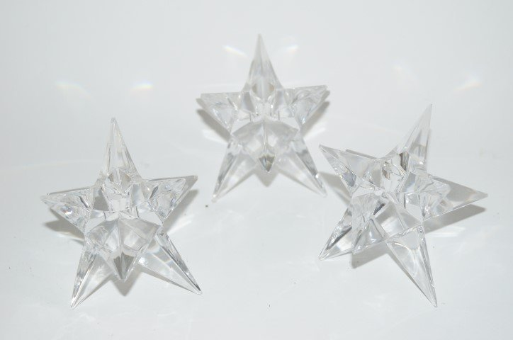 Three(3) Rosenthal Crystal Star Candlesticks