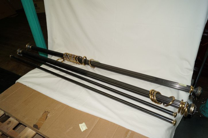 Pair of  Brass and Metal  Curtain Rods