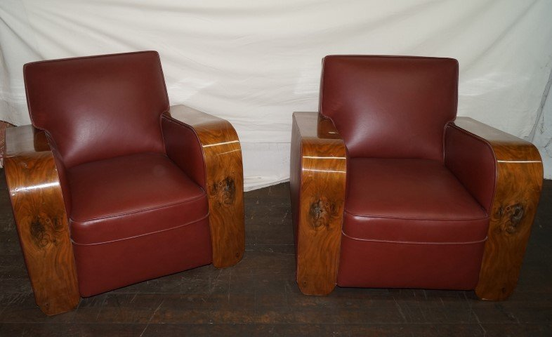 Pr. 1930's Art Deco Club Chairs