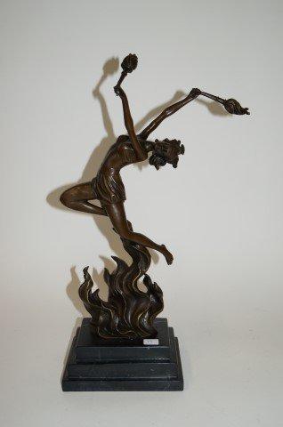 Art Deco Bronze Flame Dancer