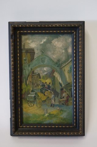 Oil on canvas. Carriage Scene