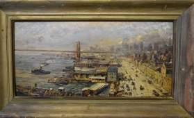 Ernest Lawson. Oil. NYC Scene. Signed