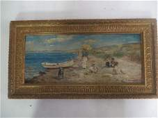 Mabel Woodward Attr to Oil Beach Scene
