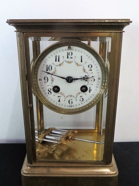 Anniversary Clock.  Brass and Beveled Glass