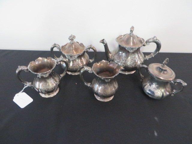 Victorian Silver Plate Tea Set.  Meridan