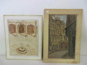 Boris Vassiloff Watercolors. Signed (2)