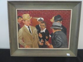 Oil On Panel Shooting Of Lee Harvey Oswald