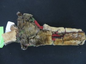 Indian Sheath Of Fur And Antique Blanket