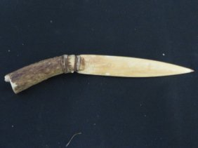 Indian Knife Carved From Stag Antler