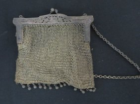 German Silver Mesh Victorian Purse