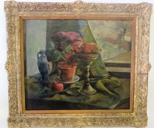 Sheo Sensawa. Oil Still Life. Signed