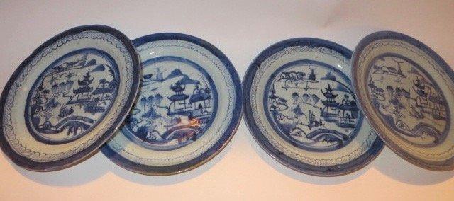 Canton Plates. C. 1800's (Four)