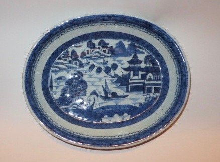 Canton Oval Serving Bowl. C. 1840