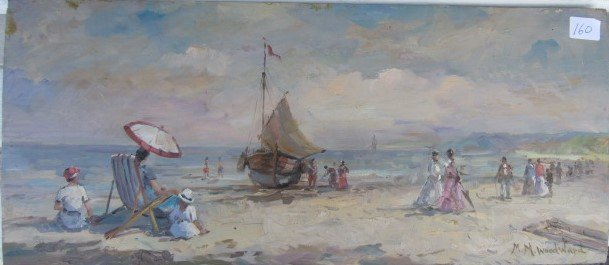 Mabel Woodward. Important Oil on Panel. Signed
