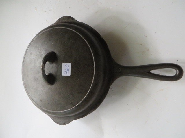Griswold Cast Iron Covered Skillet.