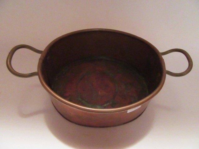 Antique Copper Double Handled Pot - 2