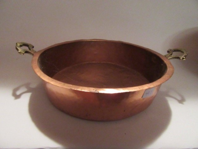 Antique Brass Handled Copper Dish - 2