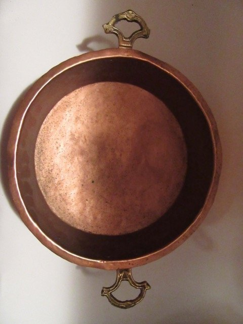 Antique Brass Handled Copper Dish - 3