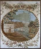 Silk Embroidered Harbor Scene
