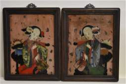 Pair of Early Chinese Paintings on Glass