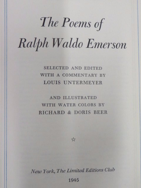 Emerson. Ralph Waldo. Poems Of