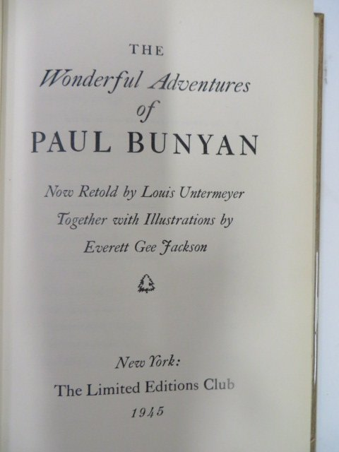 Untermeyer, Louis. Adventures  Paul Bunyan. Limited