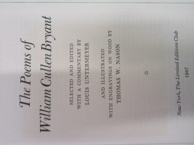 Poems William Cullen Bryant. 1947. LEC. Sgd.