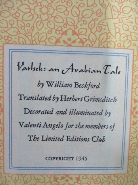 Beckford. Vathek, An Arabian Tale. Signed